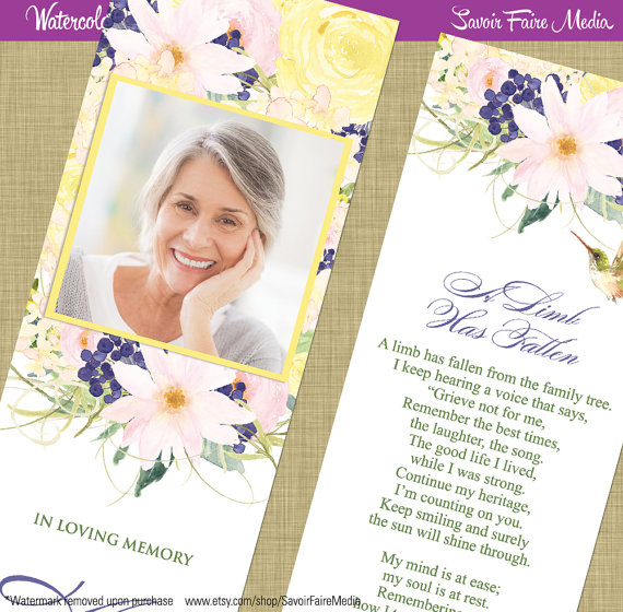 Funeral Memorial Bookmark and Prayer Card \/\/ Printable Watercolor - funeral reception invitation