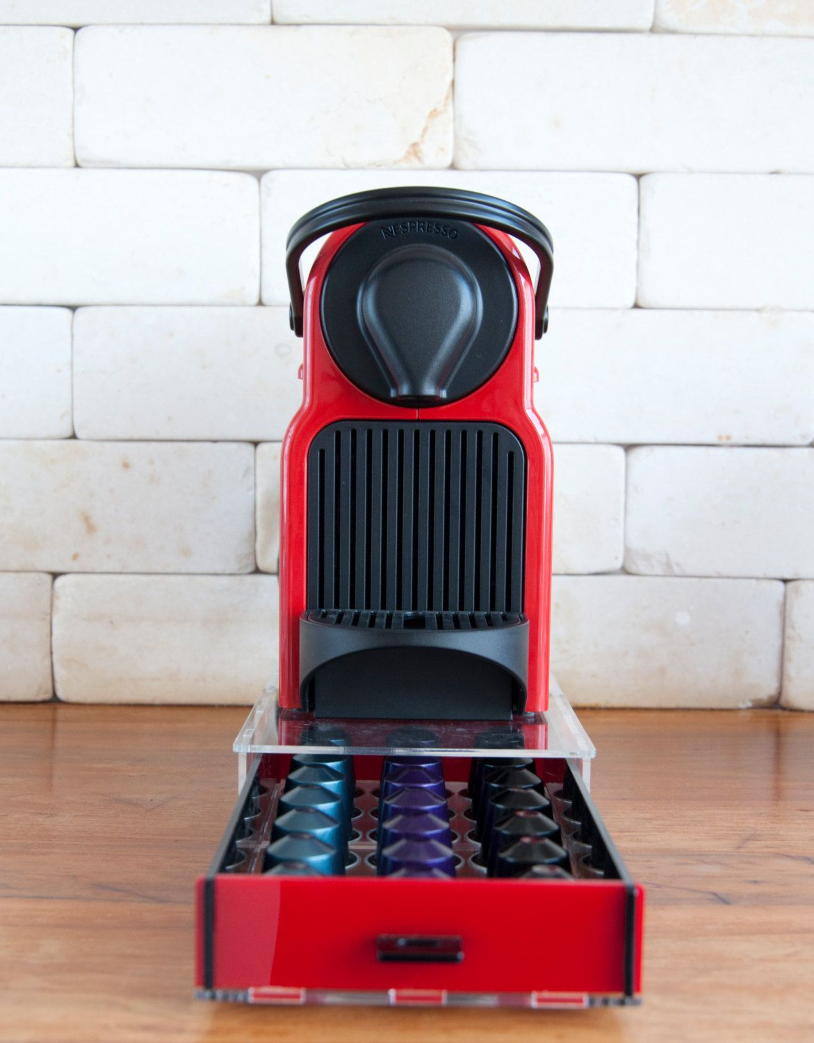 Coffee Pod Storage Drawer For 21 Nespresso Capsules Red Color Drawer  Elegant Option For Storage Nespresso Capsules (42.90 USD) By Mysheyne