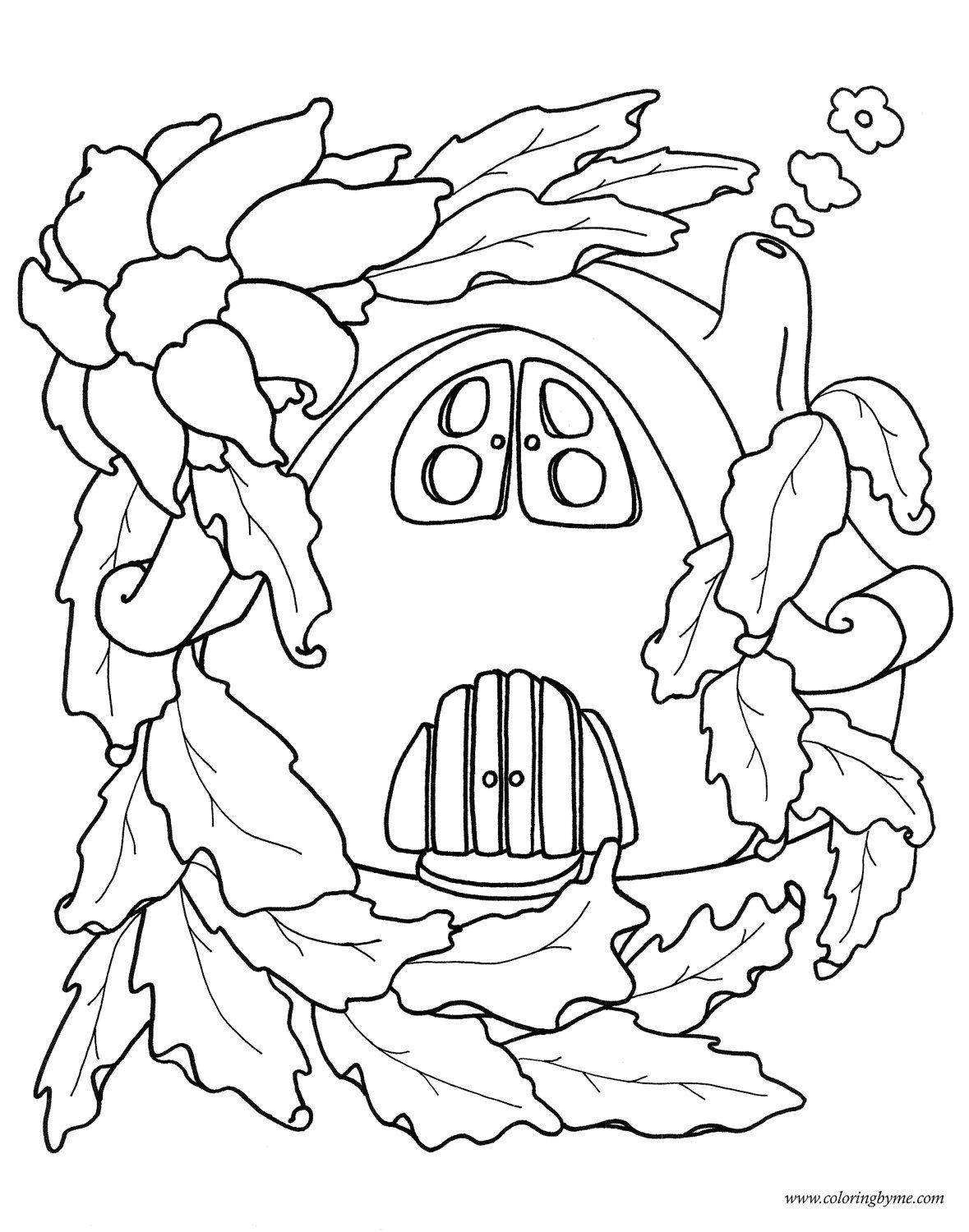 Fairy house coloring page Fairy drawings, Coloring books
