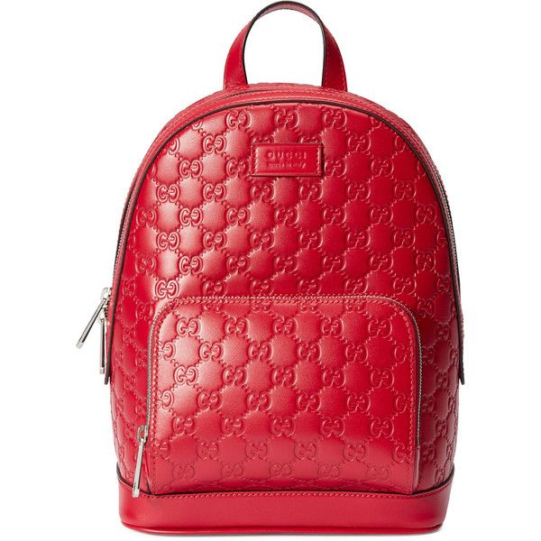 ad2765c4f645 Gucci Signature Leather Backpack ($1,790) ❤ liked on Polyvore featuring bags,  backpacks, backpack, red, leather knapsack, zip backpack, gucci backpack,  ...