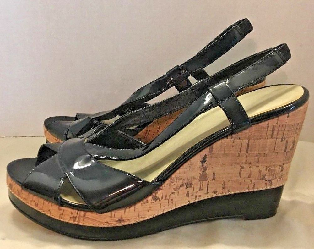 456fb46f2c7e Impo Womens Black Patent Leather Cork Wedge Heel Sandals Size 10 M Shoes   Impo  PlatformsWedges  Casual