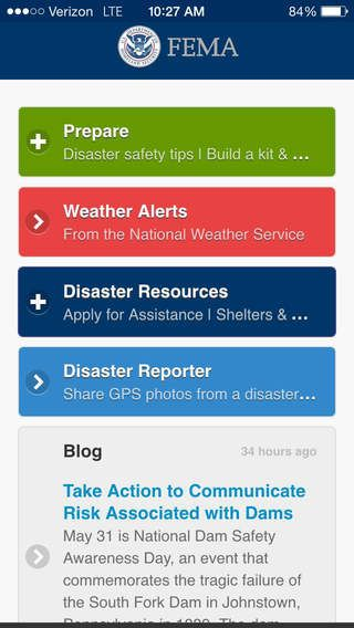 The Federal Emergency Management Agency FEMA app with
