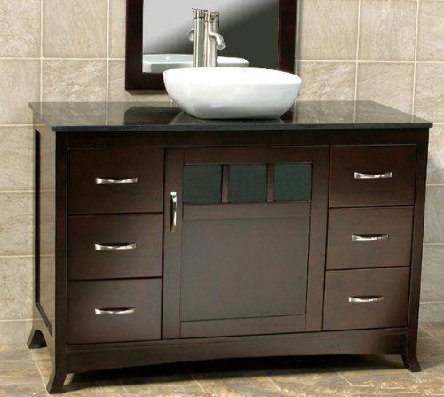 Solid Wood 48 Bathroom Vanity Cabinet Black Granite Stone Top