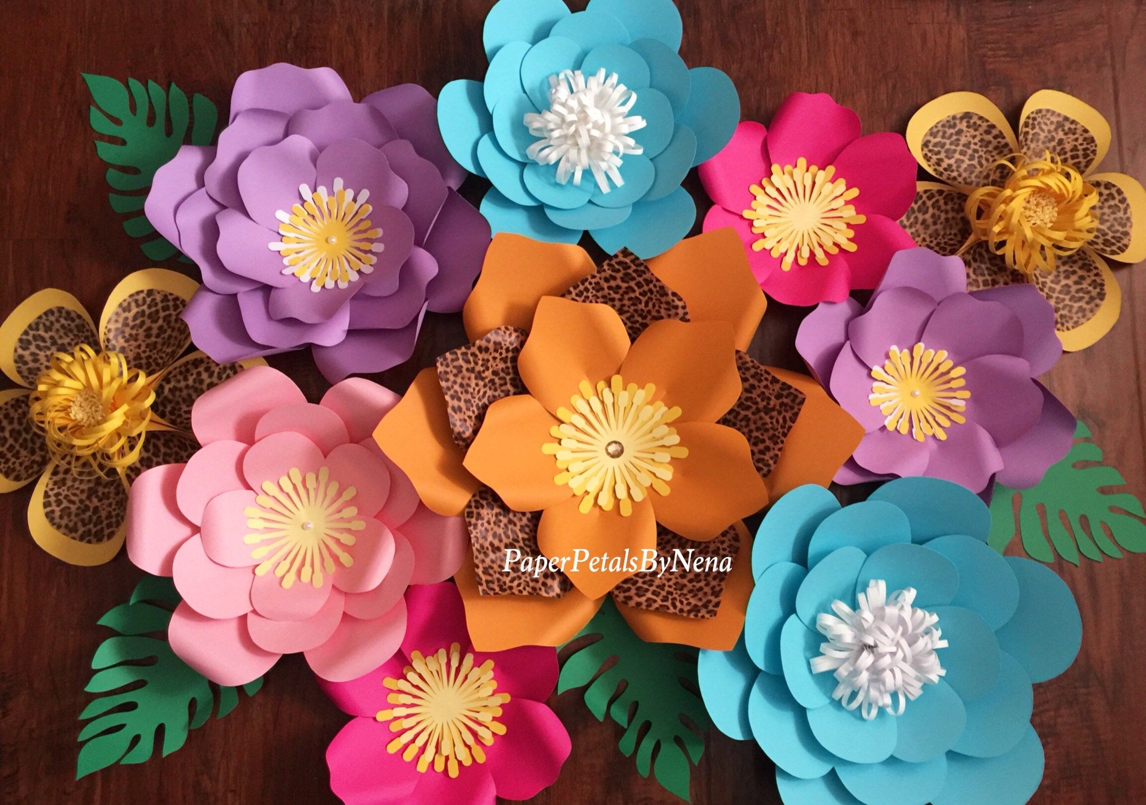 10 Piece Paper Flowers Paper Flowers Birthday Paper Flow