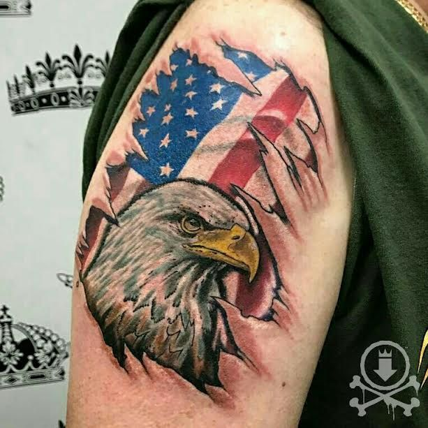 5f9fc87acea6 Awesome bald eagle and American flag skin rip tattoo by Jose Bolorin.   12ozstudios  team12oz  tattoo  tattoos  tattooed  tattooart  tattooartist   eagle ...