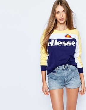 ellesse oversized crew neck sweatshirt with colour block. Black Bedroom Furniture Sets. Home Design Ideas