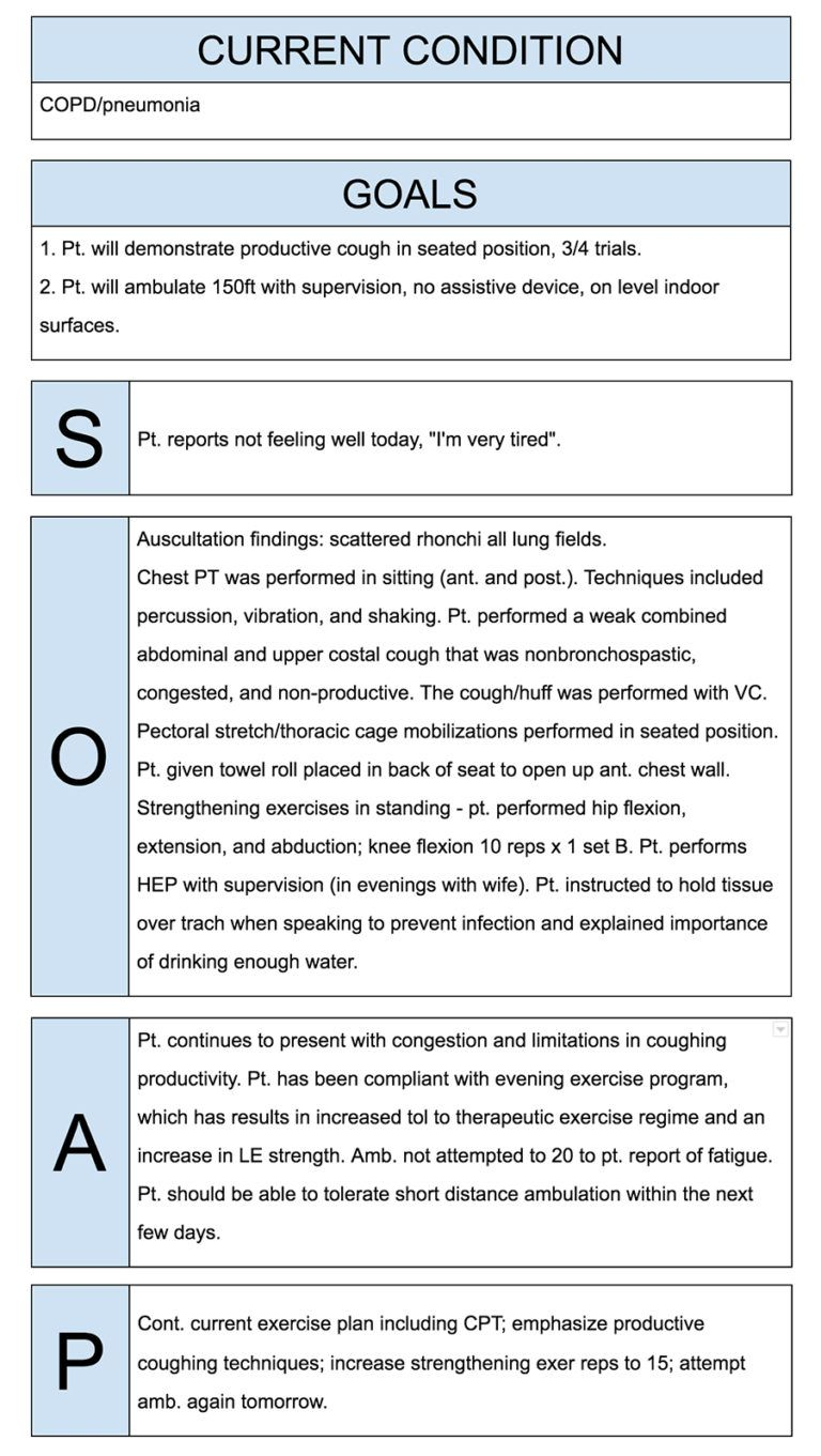 physical therapist soap notes example