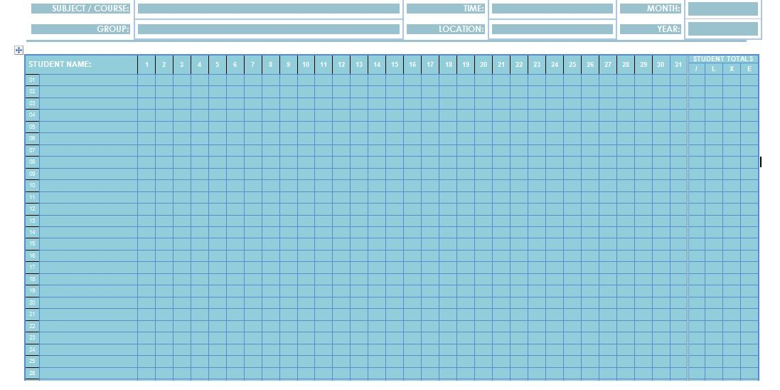 Attendance Sheet Template In Word Format  Microsoft Office