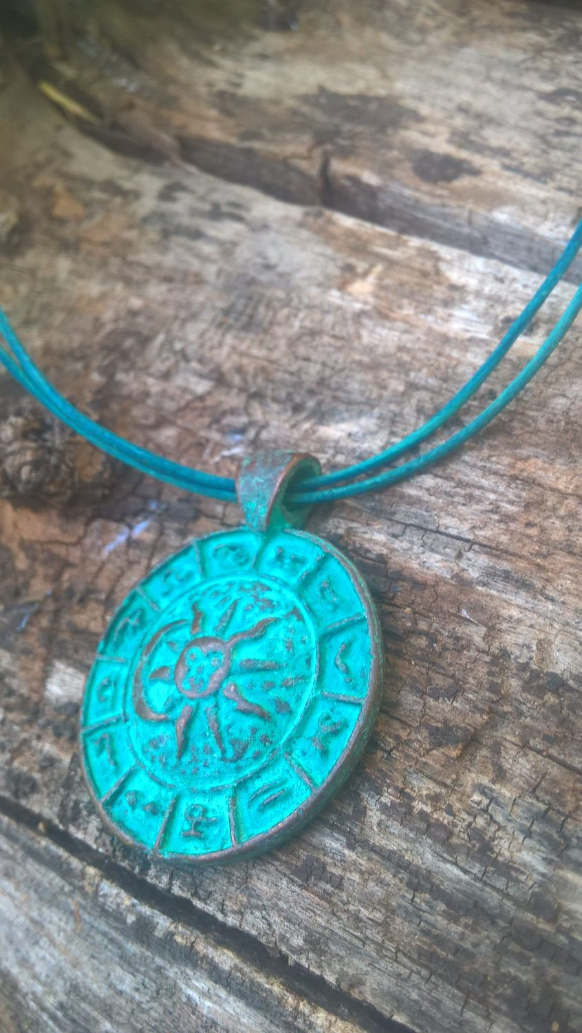 Green patina zodiac pendant necklace bohemian necklace turquoise