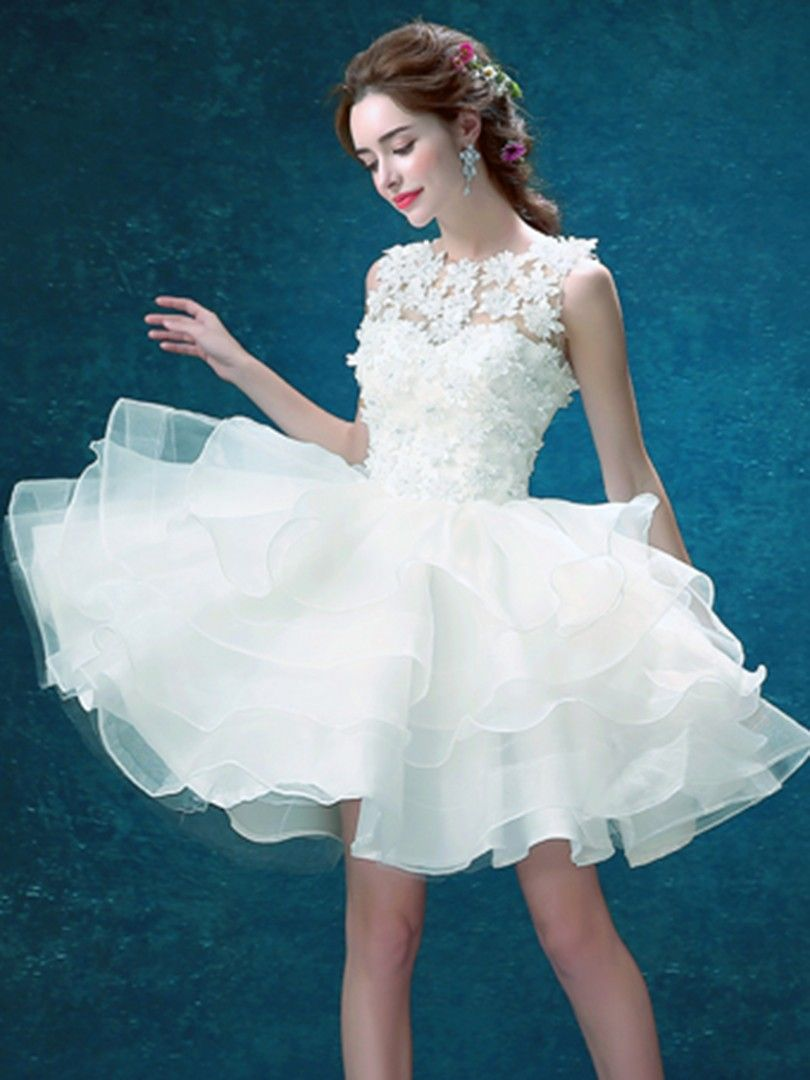 White lace layering sleeveless prom dress puff dress ropa y