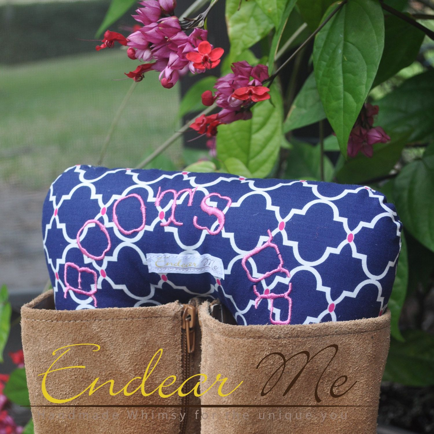 Boots Up by Endear Me Handmade boot stuffer in Blue geometric with pink Cotton fabric - closet organizer; boot trees by EndearMe on Etsy