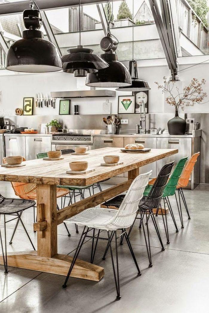 Idées Déco Pour Aménager Une Cuisine Style Industriel - Salle a manger interiors pour idees de deco de cuisine