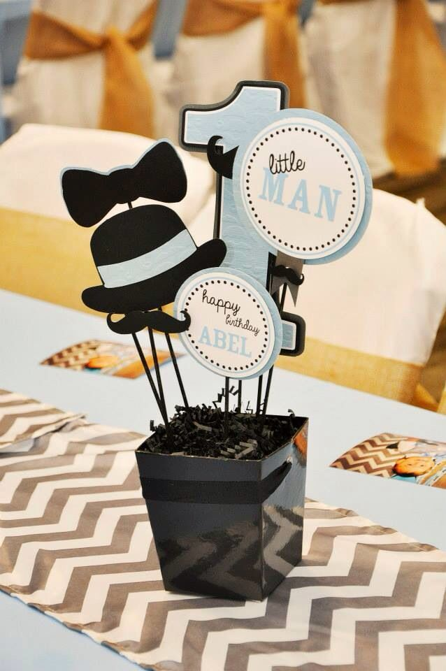 Little Man Mustache Party First Birthday Centerpieces First