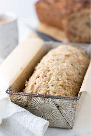 Low Carb Zucchini Batter in a prepared loaf pan.