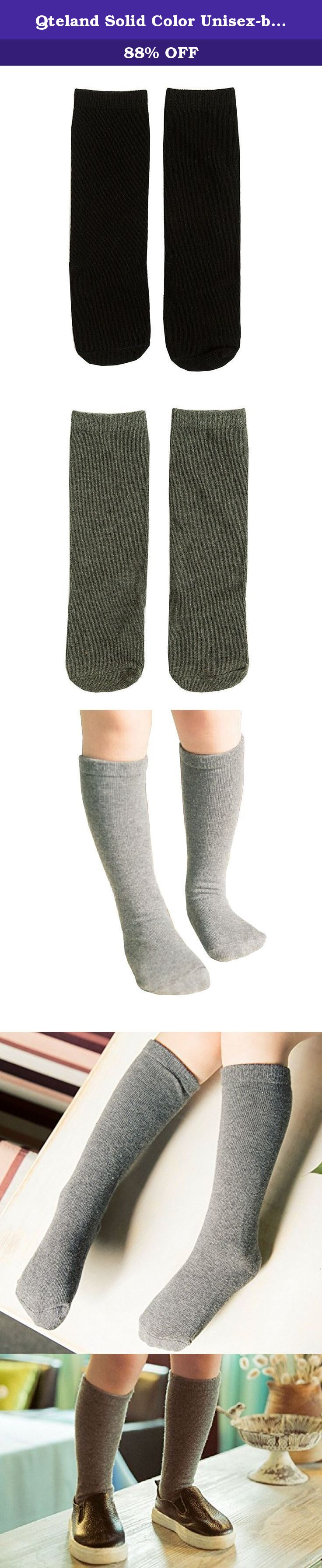 Qteland Solid Color Unisex-baby Knee High Socks Tube socks for Kids 2-pack. Qteland Cotton high knee socks for Babies are an adorable and fashion item dress up your little one. Look for all of our adorable high knee socks! Available in stripes, Geometry,fox,cat,Mickey Mouse,bear, rabbit and so on. A material composition for comfort these socks are made of 75% cotton, 20% polyester, and 5% spandex for a snug, comfortable fit. Three size for your choose Size S: 0-12 mo, length of sole:3-4...