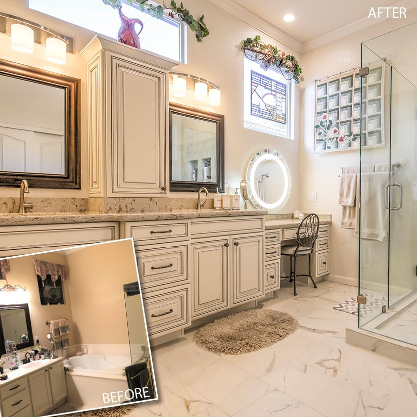 Heather Zapf Of Dr Design And Remodeling Created This Relaxing Oasis With 740 Painted Hazelnut Glaze A Warm Sandy Blo Bathrooms Remodel Cabinet Doors Cabinet