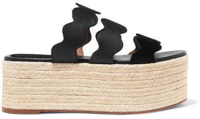 9c94409f2 Chloé - Lauren Scalloped Suede And Textured-leather Espadrille Platform  Slides - Black