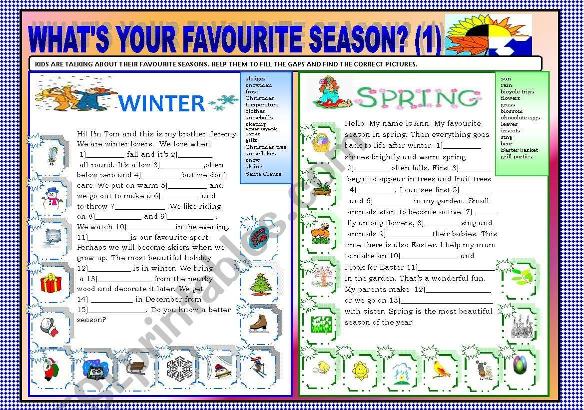 The Worksheet Is Designed To Practice Typical Seasonal