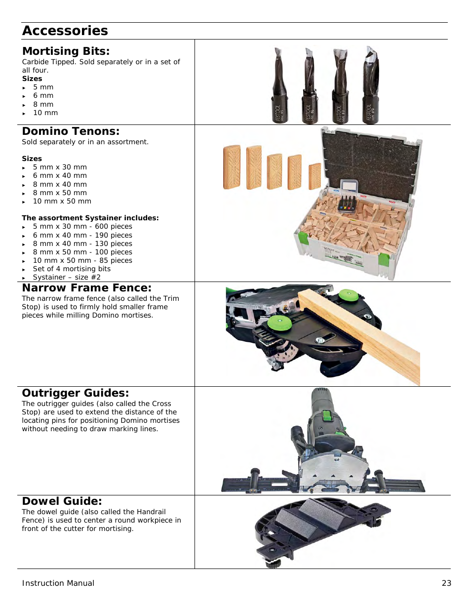 Festool Domino Df 500 Manual Page 23 Festool Festool Tools Domino