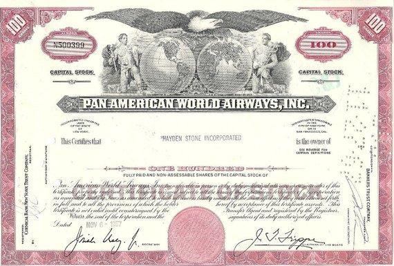 Pan American World Airways Stock Certificate Inc