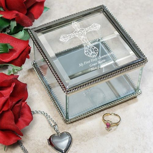 Engraved Cross Glass Jewelry Box Glass jewellery box Glass