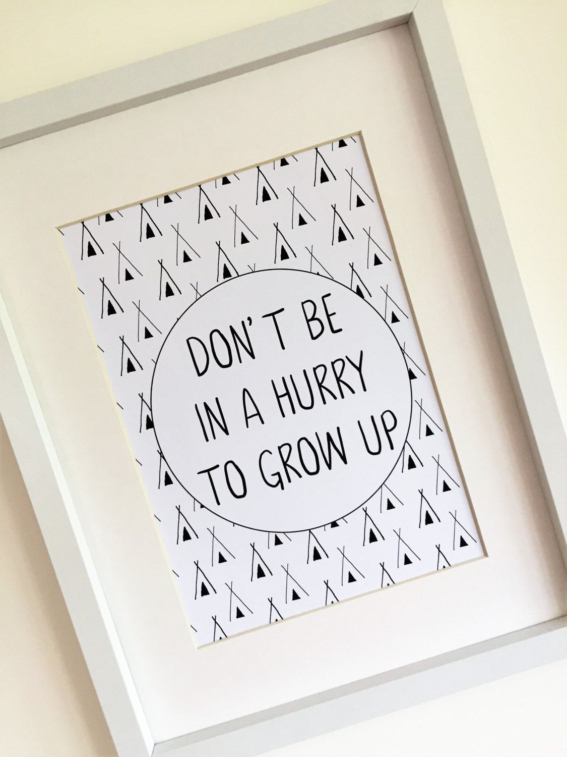 Never Grow Up Quote Black /& White Nursery Print Kids Wall Word Art Picture