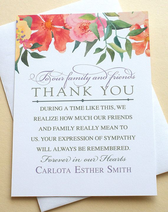 Thank You Sympathy Cards With Colorful Flowers Personalized