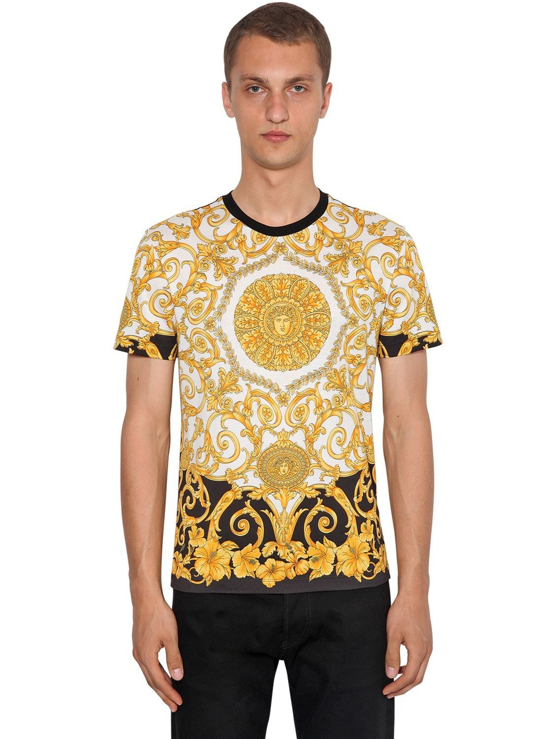 fc8914a6c VERSACE GOLD HERITAGE HIBISCUS PRINTED T-SHIRT.  versace  cloth ...