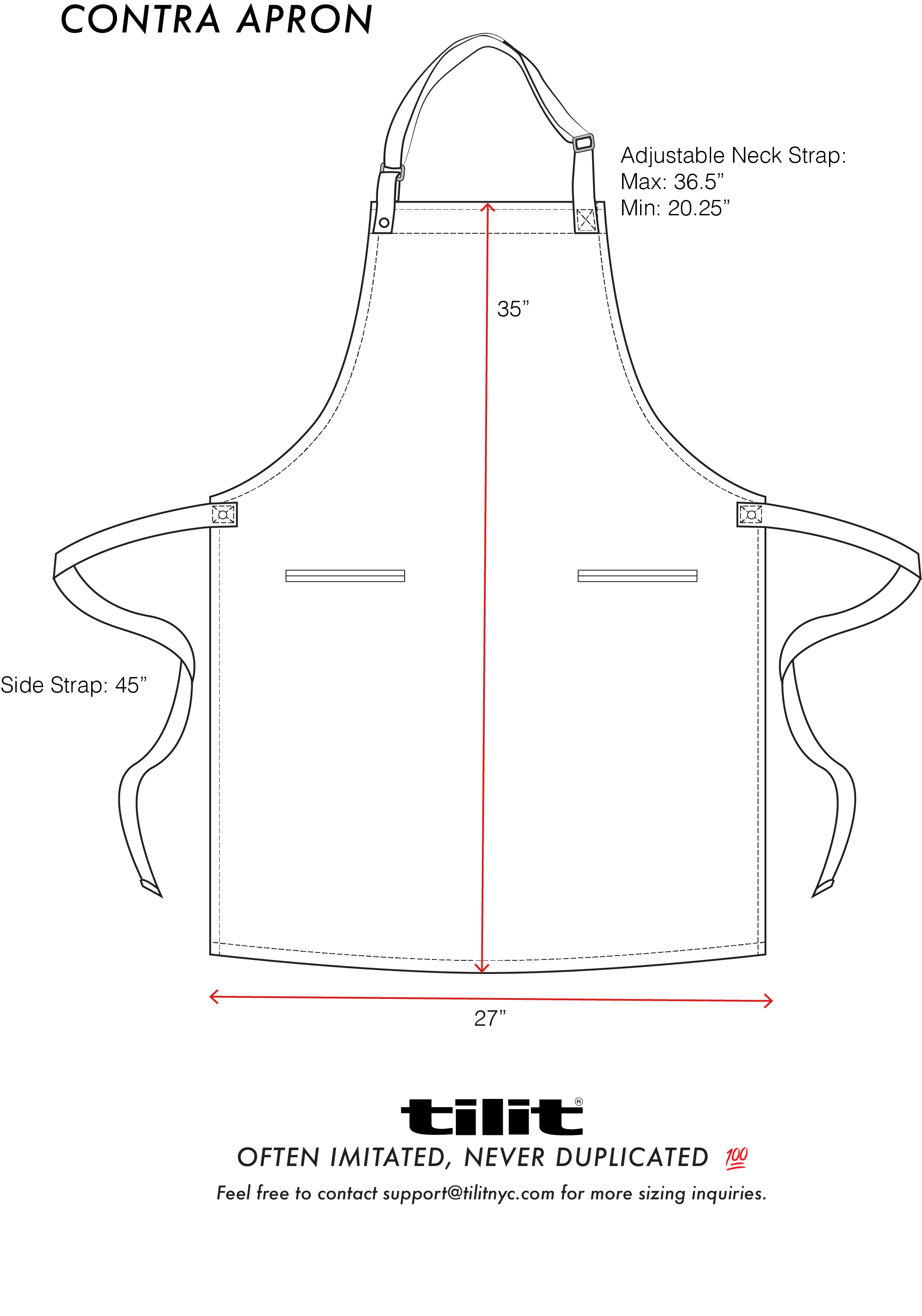 Contra Chef Aprons Size Chart | Aprons and ideas | Delantal cocinero ...
