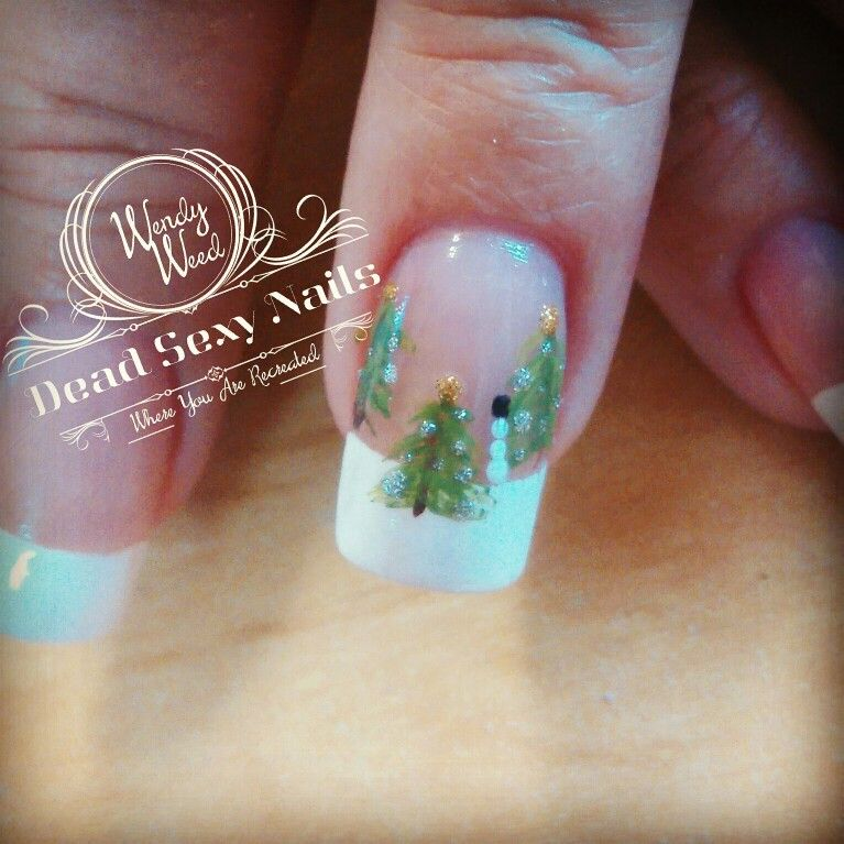 Christmas Holiday nails French manicure Christmas trees | Nails by ...
