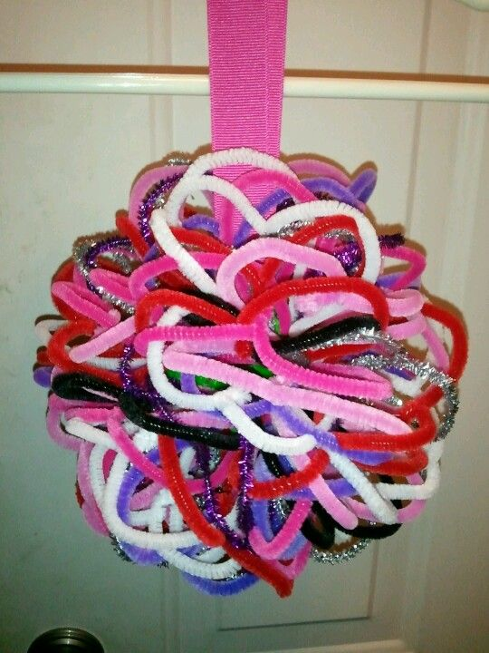Chloe's 100th Day project.  A ball made of 100 pipe cleaners in the shape of hearts.