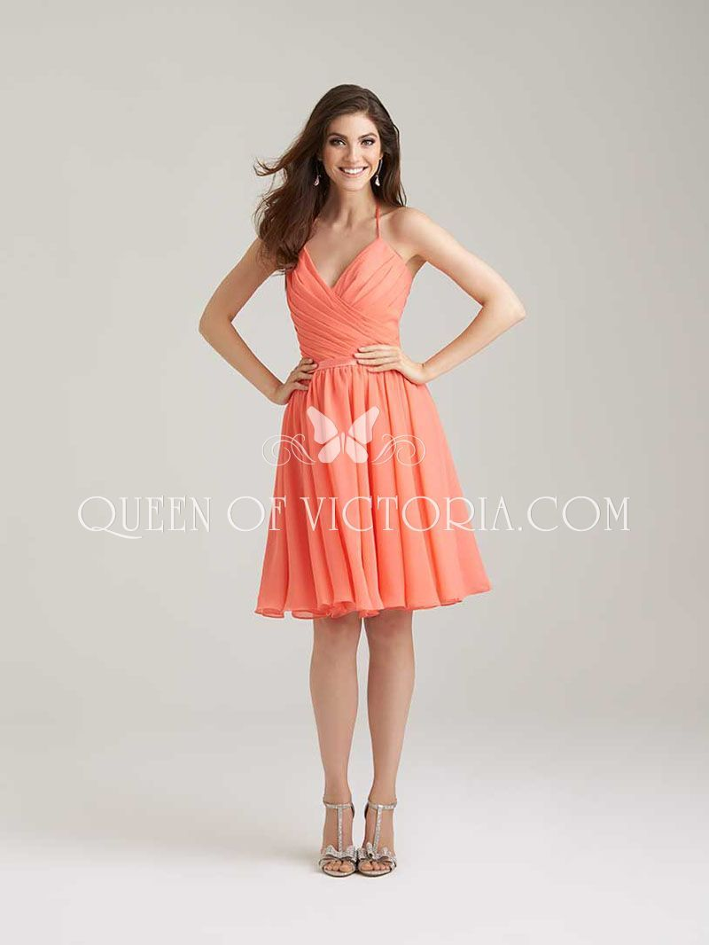 Orange chiffon halter v neck short knee length bridesmaid party
