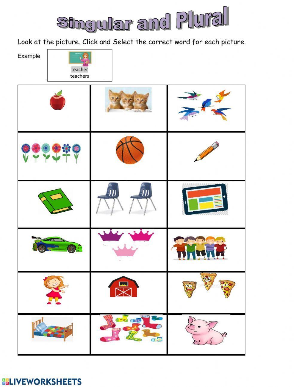 Singular And Plural Noun First Grade Interactive Worksheet Singular And Plural Nouns Nouns First Grade Singular And Plural Singular and plural nouns worksheets