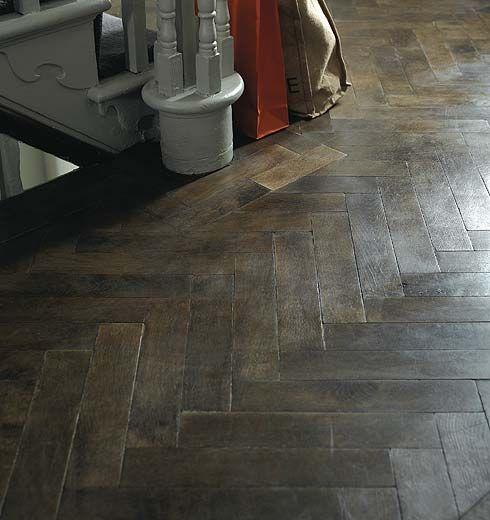 Solid Floor Oak Herringbone Reclaimed Look Dark Brown