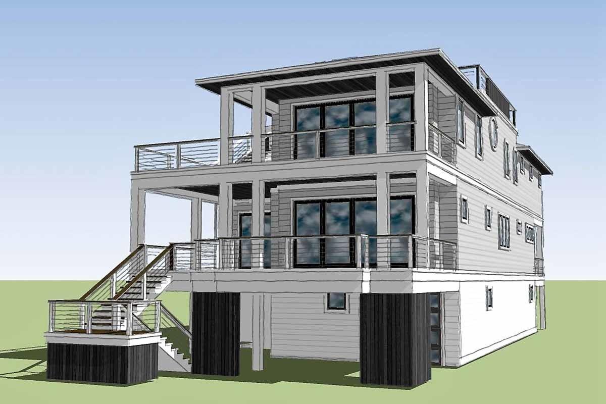Plan 15220nc Coastal Contemporary House Plan With Rooftop Deck In 2020 Coastal House Plans Contemporary House Plans Beach House Plans