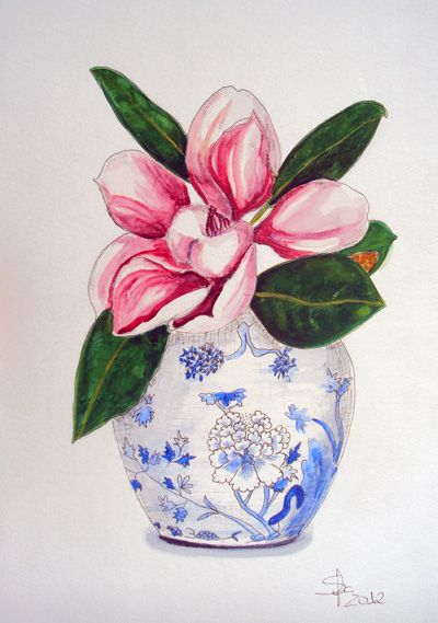 Pink Magnolia In A Vase Watercolour And Ink On Paper By Sofia Martha Flower Painting Watercolor And Ink Floral Watercolor