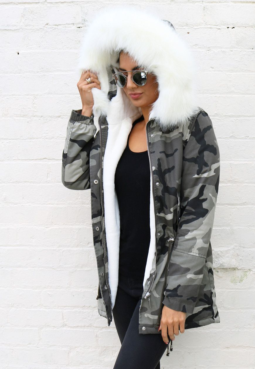 Milly Faux Fur Trim & Lined Hooded Parka in Camo Print with White ...