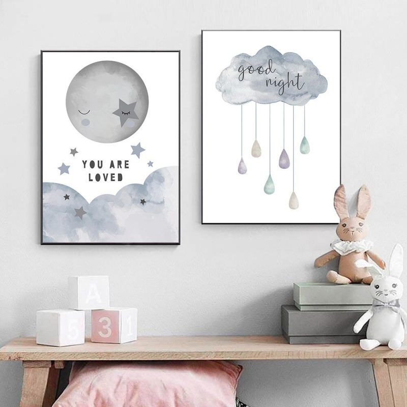 Cartoon Painting Print Good Night Cloud Canvas Painting Nursery Decor Wall Art Moon Star Art Poster Wall Pictures For Kids Room Nursery Paintings Baby Room Paintings Kids Room Art