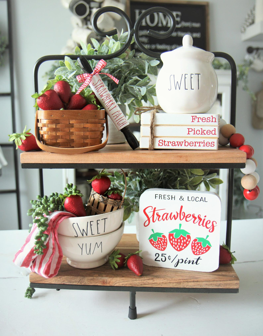 Sale Complete Set 5 Items Summer Decor Strawberry Strawberries Tier Tray Bundle Book Stacks Sign Basket Beaded Garland Rolling Pin In 2021 Kitchen Summertime Lemon