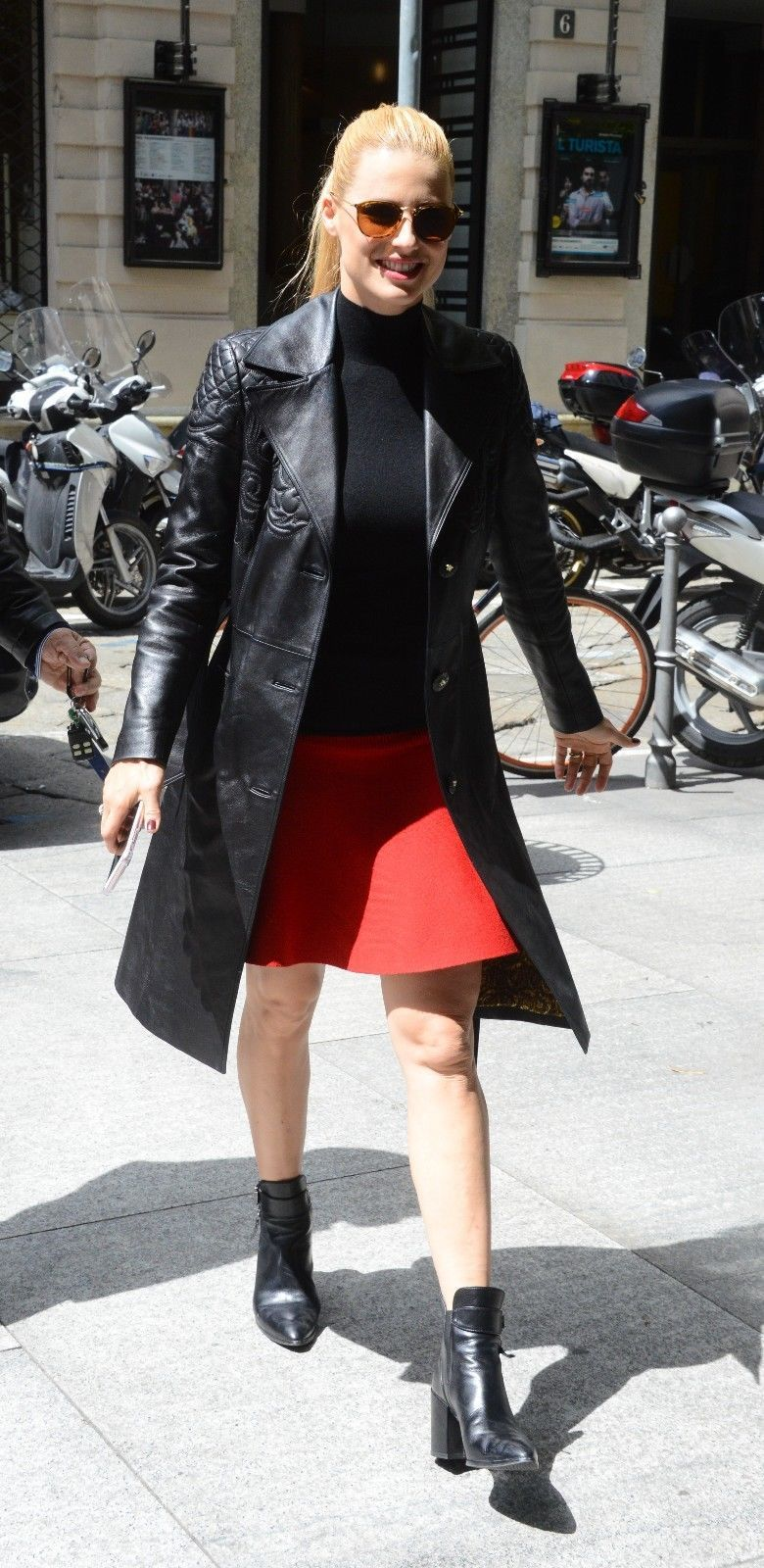 9e594bc946f9 Michelle Hunziker Slim Fit Women s Long Brazzer Leather Coat