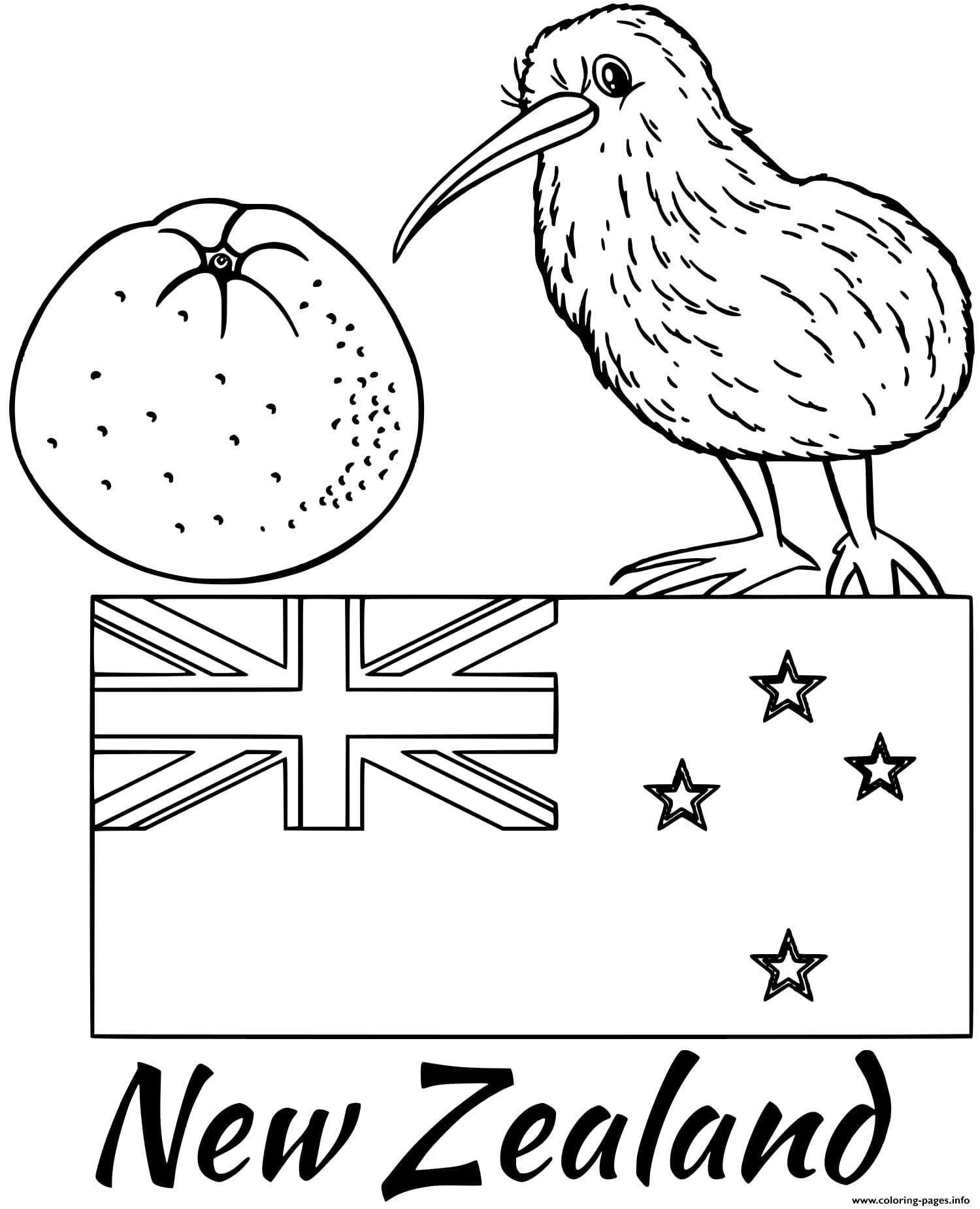 Print New Zealand Flag Kiwi Coloring Pages Flag Coloring Pages Star Coloring Pages New Zealand Flag