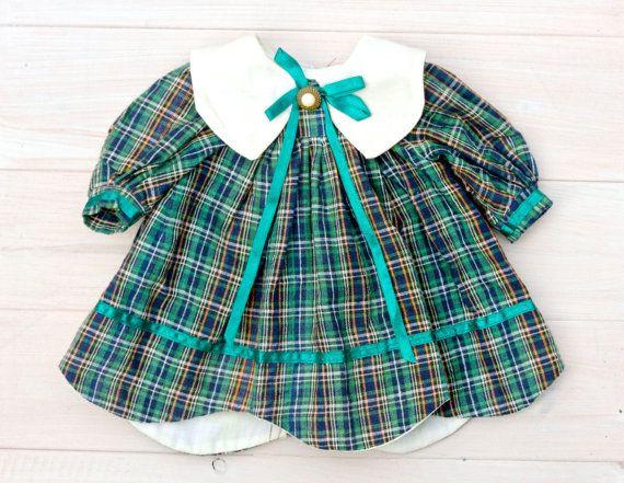 Doll's Tartan Dress Little School dress  by MeangleanAlchemist