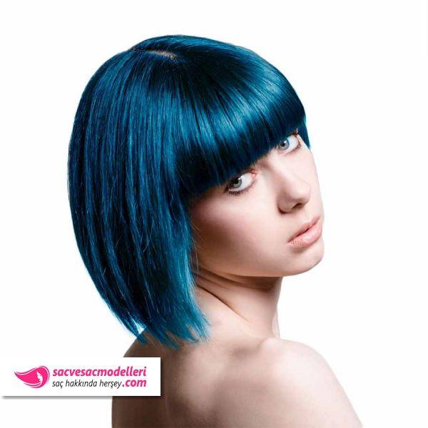 Mavi Siyah Sac Rengi Ve Mavi Siyah Sac Modelleri Yesil Sac