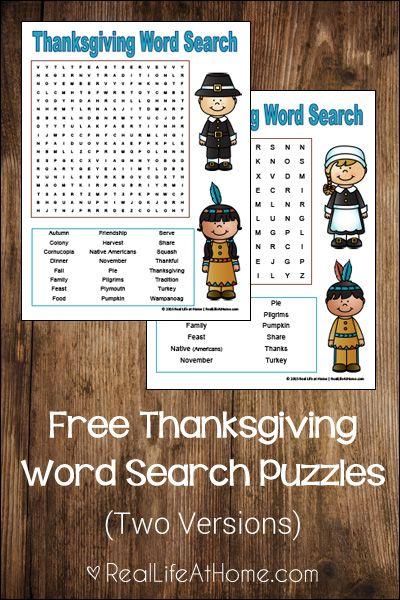 thanksgiving word search for kids free printables free rh pinterest com