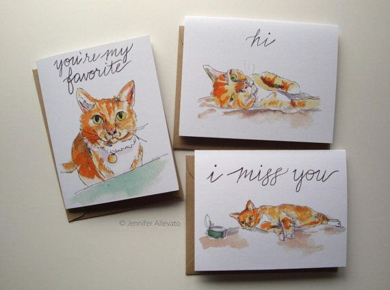 Cat cards set of 3 watercolor hand lettering greeting cards