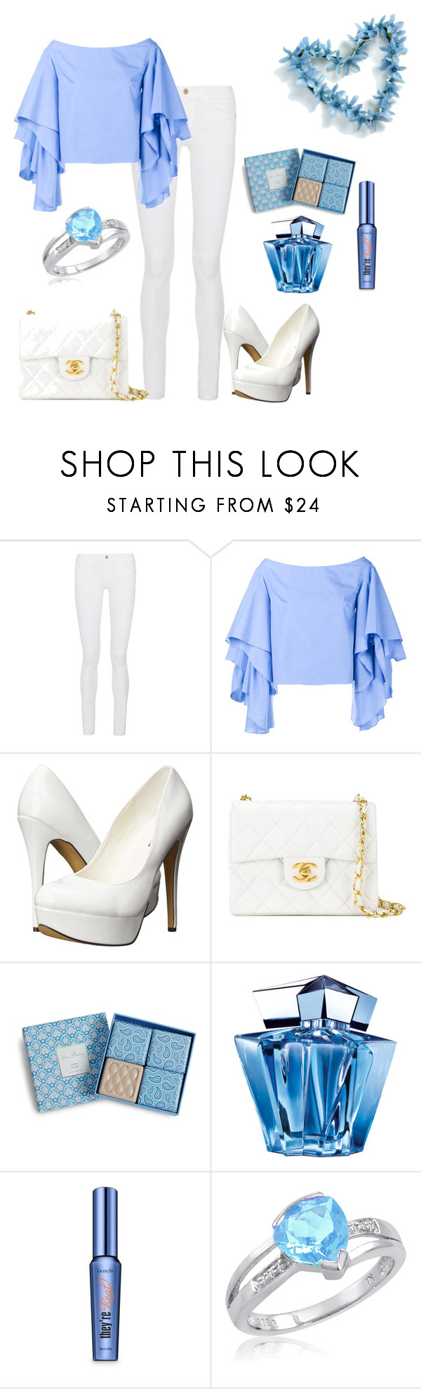 """Light Blue"" by brilliantdawn ❤ liked on Polyvore featuring Frame Denim, Rosie Assoulin, Michael Antonio, Chanel, Vera Bradley, Thierry Mugler, Benefit and Amanda Rose Collection"