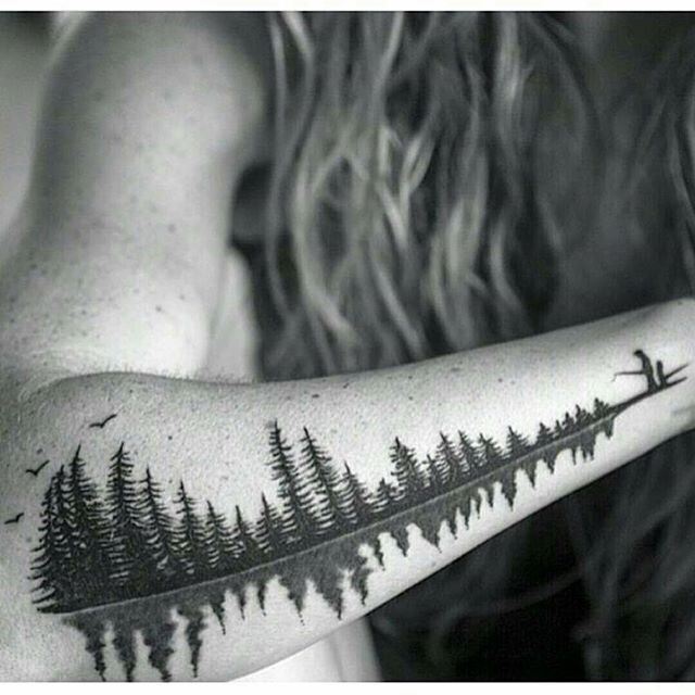 """At first this would just seem like a cool tattoo of some nature. I fact this is a soundwave of a father saying the word """"Babydoll"""" to his daughter. A special request to represent a nickname and a loving memory of a girl and her father in a familiar setting, outdoors fishing. Tattoo by @thebutcherbrand Model is @lil912 (Shared by @yaseen_uk) www.artfido.com"""