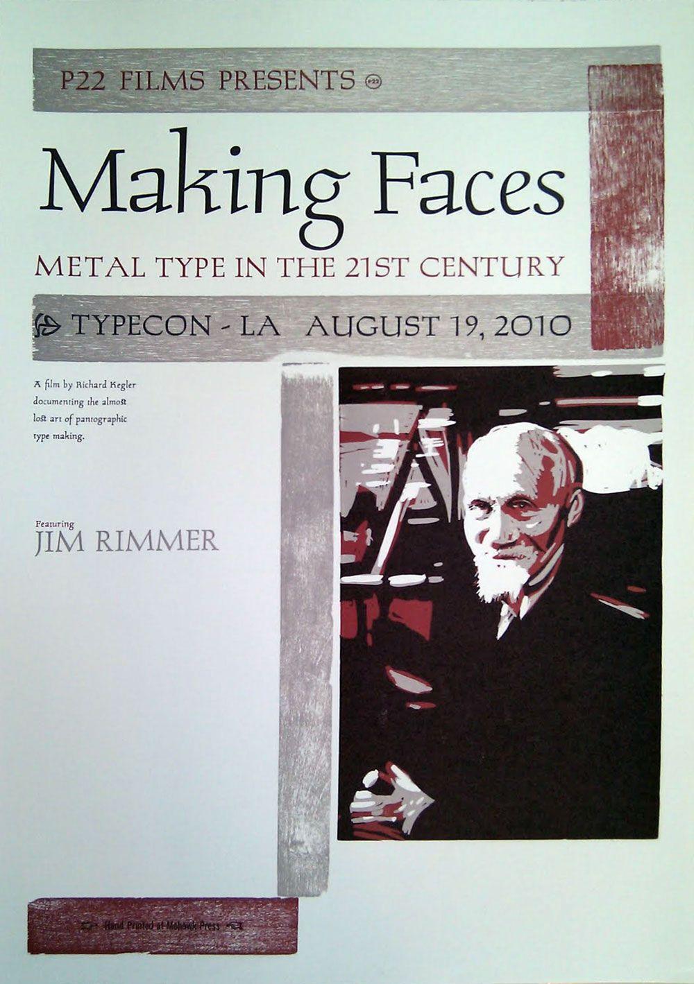 Making faces letterpress poster (metal hand set type, ludlow type, wood furniture, polymer & linocut)