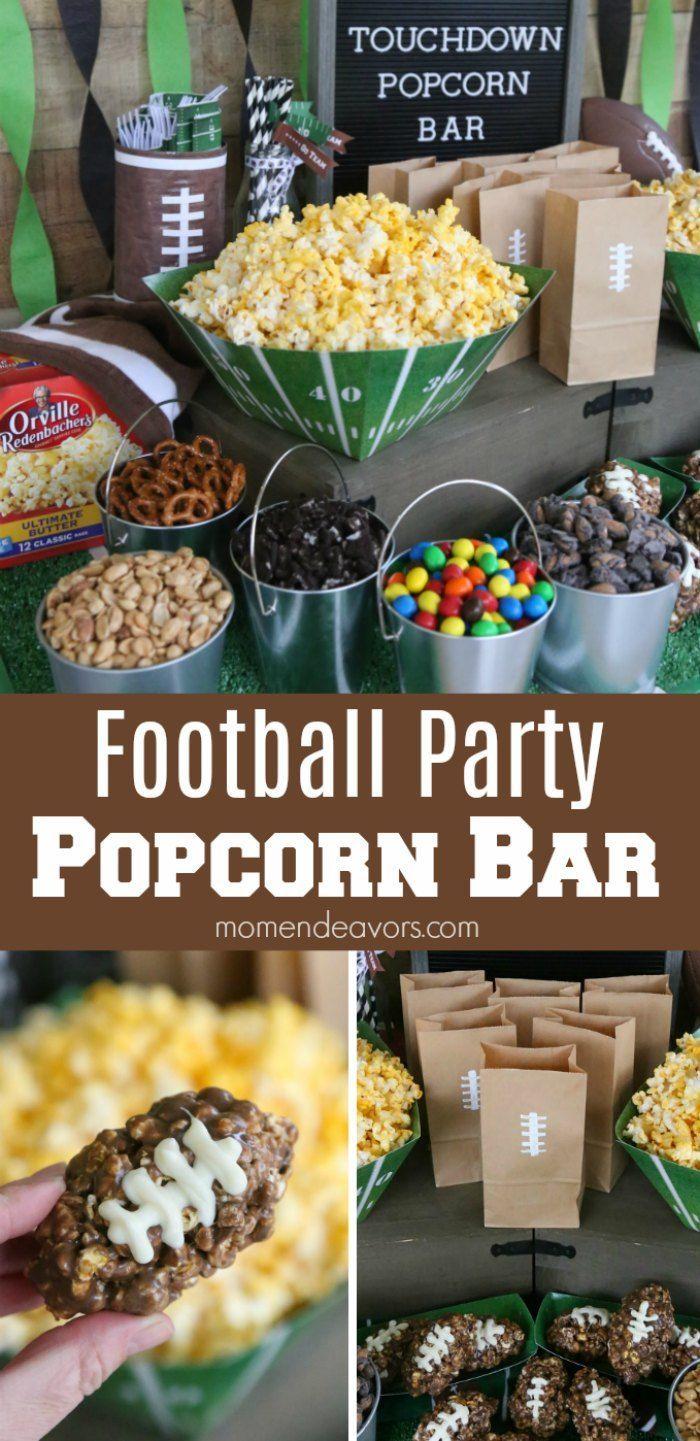 Football Party Popcorn Bar - Mom Endeavors