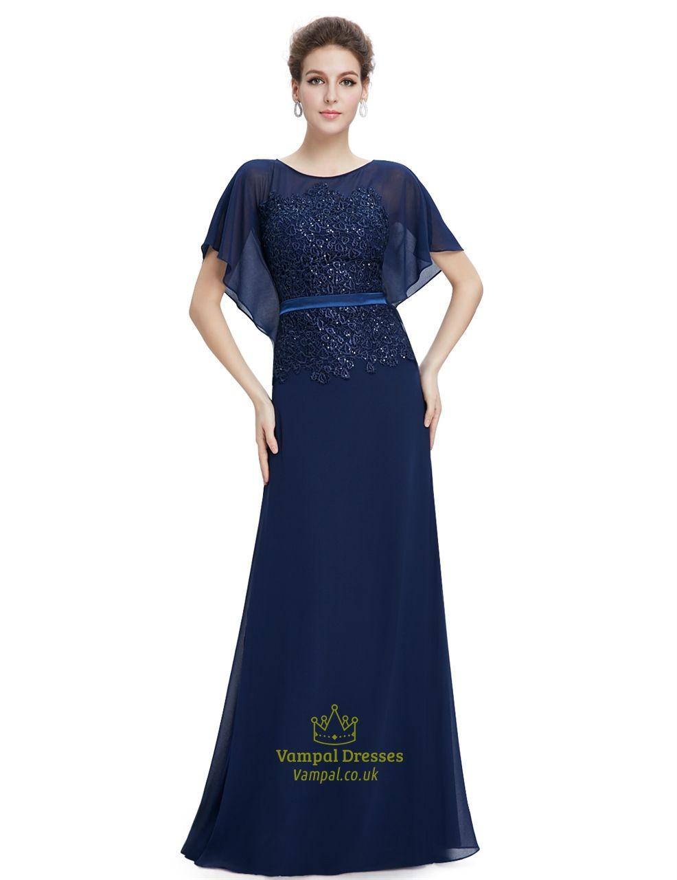 Navy blue chiffon flutter sheer sleeve prom dresses with lace navy blue chiffon flutter sheer sleeve prom dresses with lace applique ombrellifo Choice Image